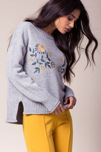 Grey Embroidered Sweater