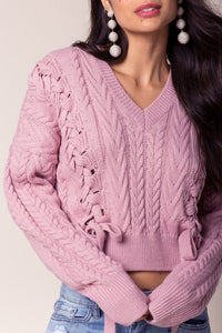 Lace Up Cropped Cable Knit Sweater
