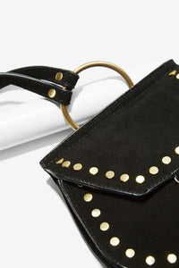Nila Anthony Black Saddle Suede Bag