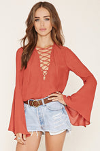 Load image into Gallery viewer, Lace Up Bell Sleeve Top