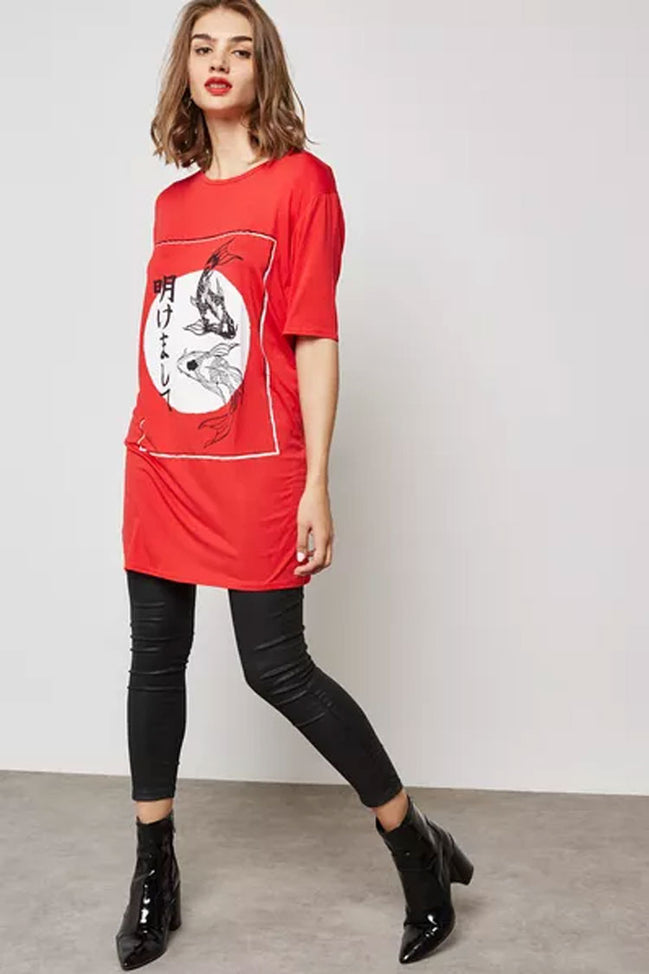 Koi Fish Red T-Shirt Dress