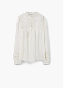 Mango Embroidered Panel Blous