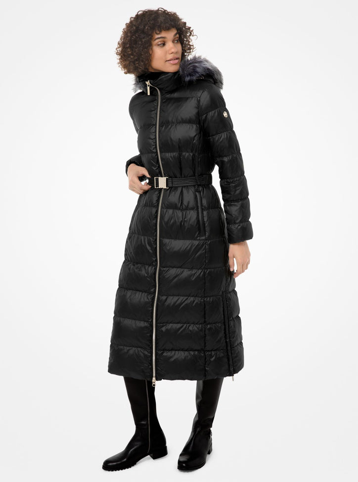 MICHAEL MICHAEL KORS Faux Fur-Trim Quilted Puffer Coat