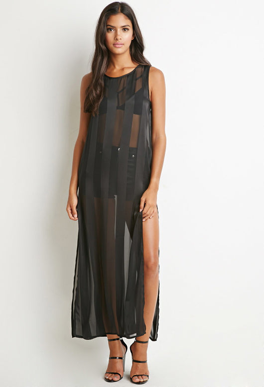 Shadow Striped High Slit Maxi Dress