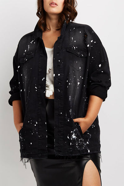 Curvy Paint Splatter Denim Jacket
