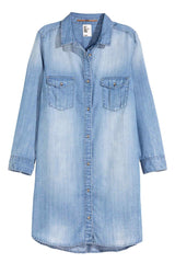 Long Chambray Shirt Dress