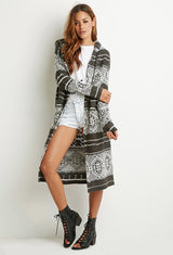HOODED LONG-LINE CARDIGAN