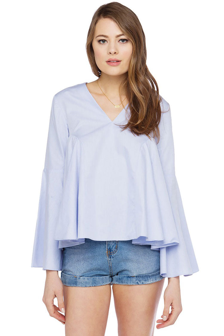 Baby Blue Bell Sleeve Top