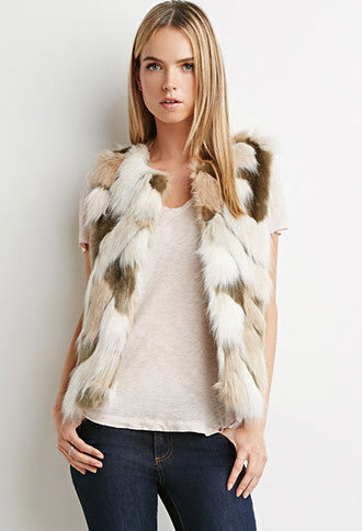 MULTI COLOR FAUX FUR VEST