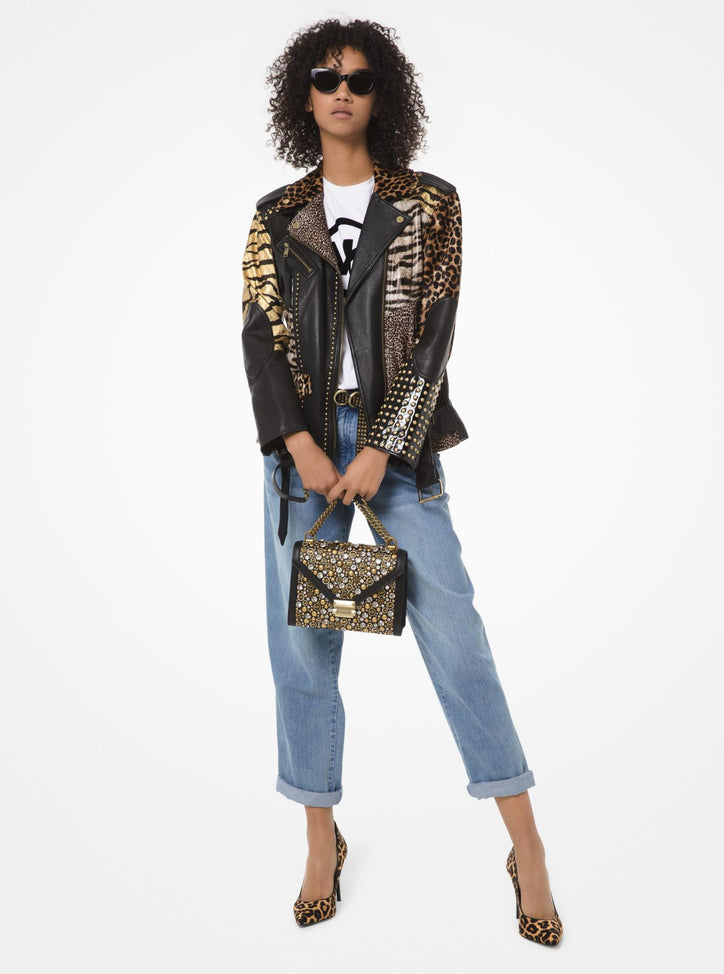 MICHAEL MICHAEL KORS Animal-Print Patchwork Leather Moto Jacket