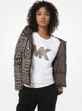 Load image into Gallery viewer, MICHAEL MICHAEL KORS Reversible Leopard and Logo Quilted Puffer Jacket