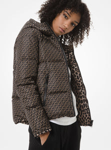 MICHAEL MICHAEL KORS Reversible Leopard and Logo Quilted Puffer Jacket