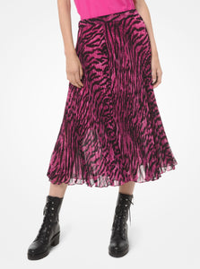 MICHAEL KORS Tiger-Print Georgette Pleated Skirt