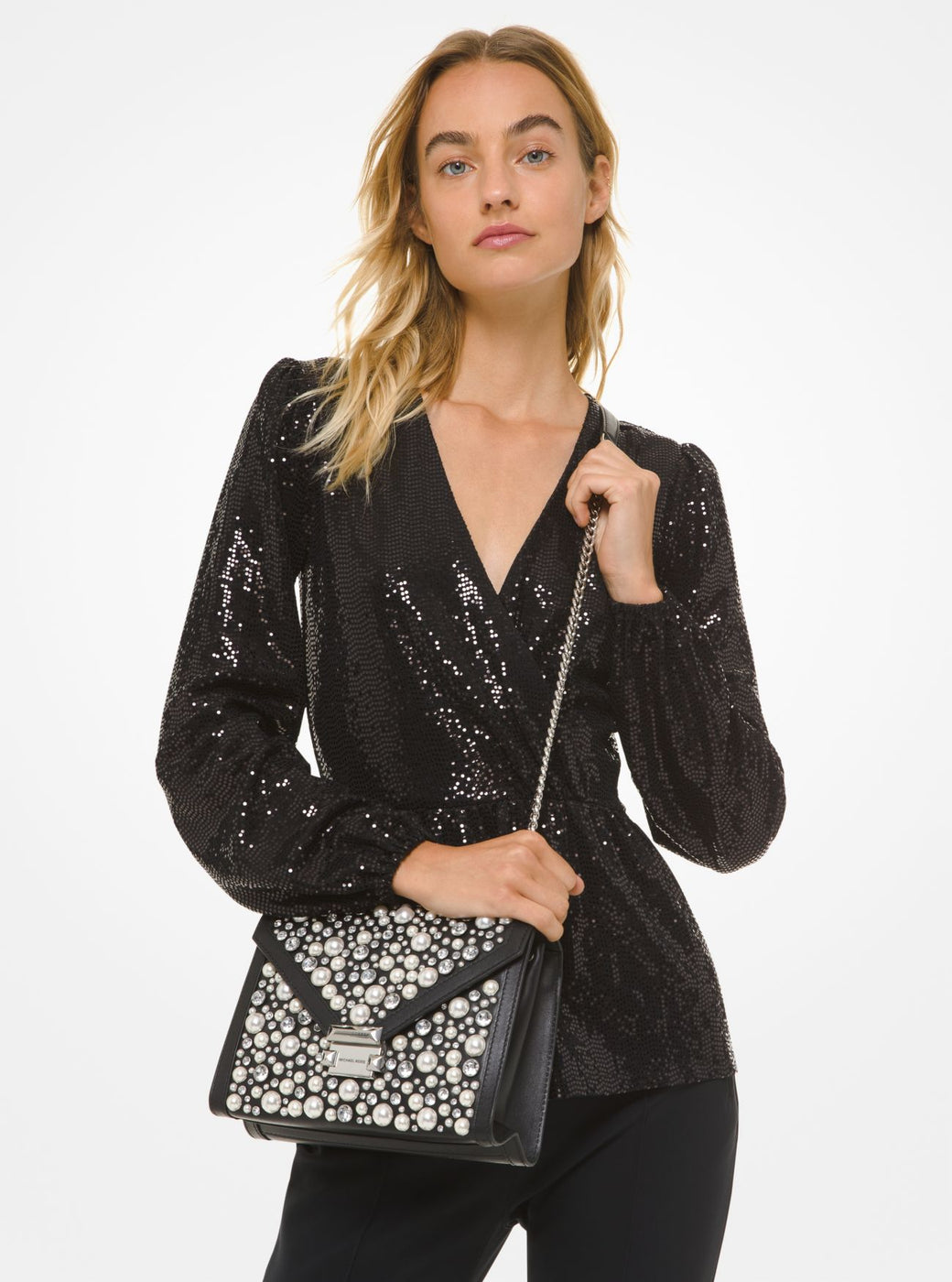 MICHAEL KORS Mirror Jersey Crossover Top