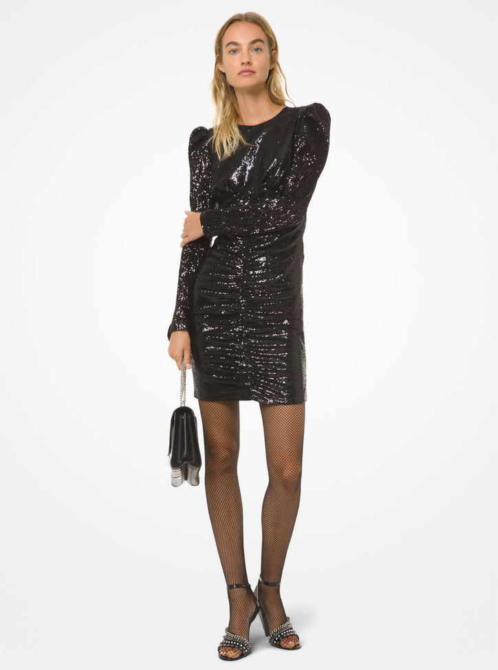 MICHAEL MICHAEL KORS Sequined Puff-Shoulder Dress