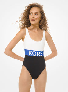 MICHAEL KORS Scoop-Back Swimsuit-Blue