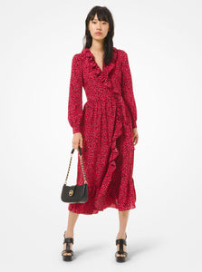 MICHAEL KORS Petal Crepe Ruffled Wrap Dress