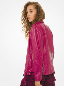 MICHAEL MICHAEL KORS Crinkled Leather Moto Jacket Pink
