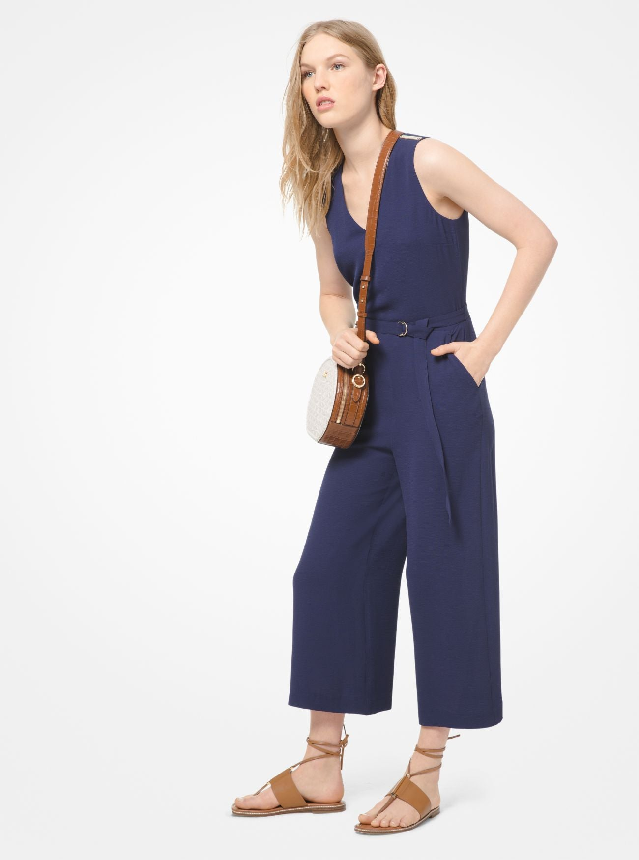 MICHAEL MICHAEL KORS Stretch-Crepe Belted Jumpsuit