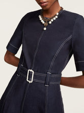 Load image into Gallery viewer, Hilfiger Collection Belted Nautical Denim Midi Dress