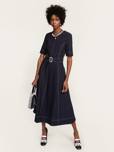 Hilfiger Collection Belted Nautical Denim Midi Dress