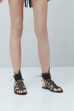 Mango Feather leather sandal