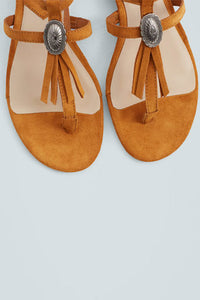Mango Fringe Leather Sandal