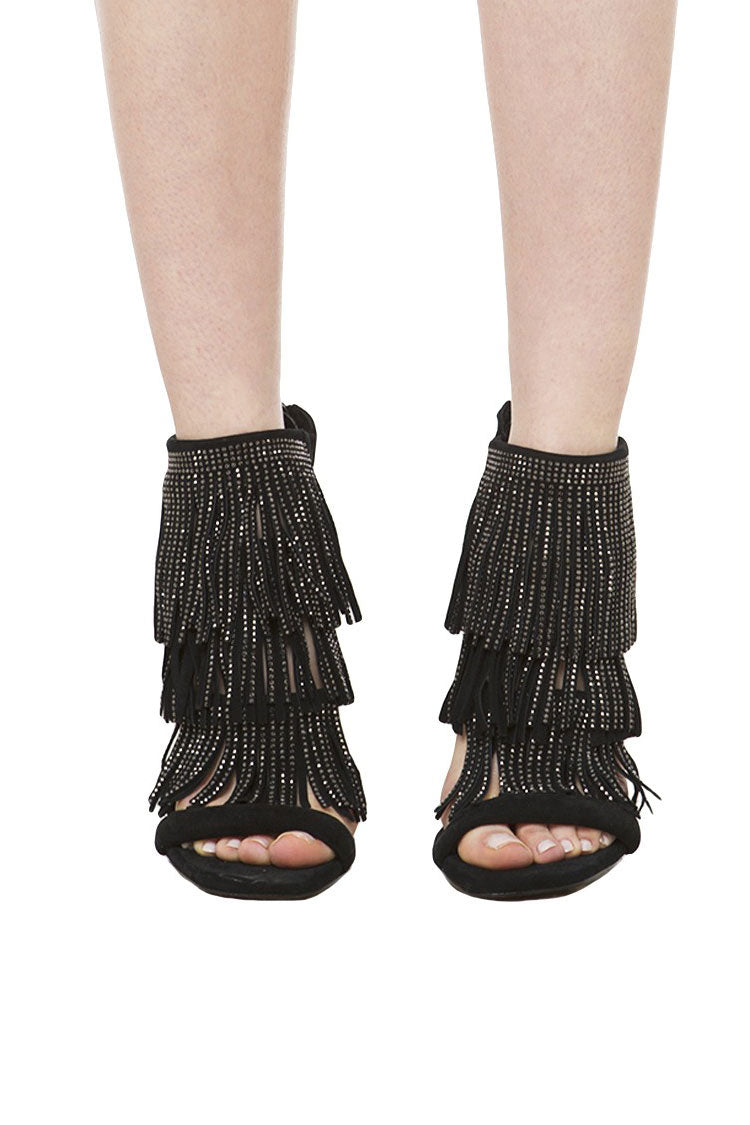 Steve Madden Fringlyr Rhinestone and Suede Sandals