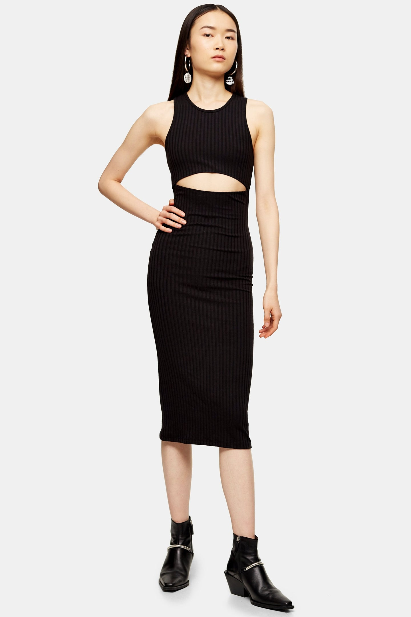 Top Shop Cut Out Ribbed Midi Dress