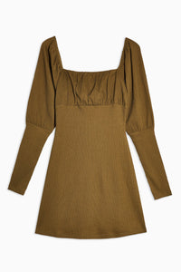 Top Shop Khaki Crinkle Gypsy Mini Dress