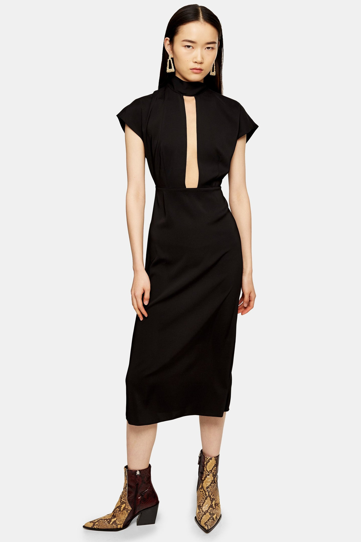 Top Shop Plunge Tie Neck Midi Dress