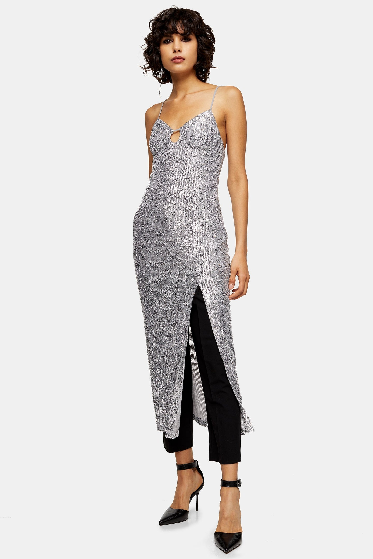 Top Shop Silver Sequin Keyhole Midi Dress