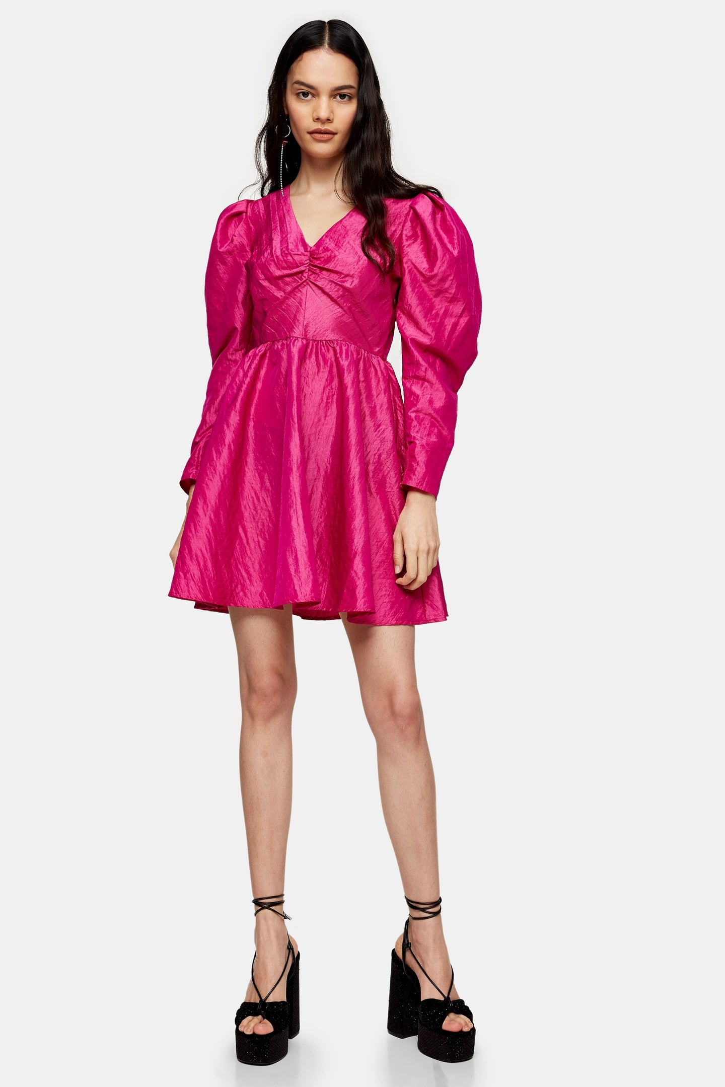 Top Shop V Neck Taffeta Mini Dress