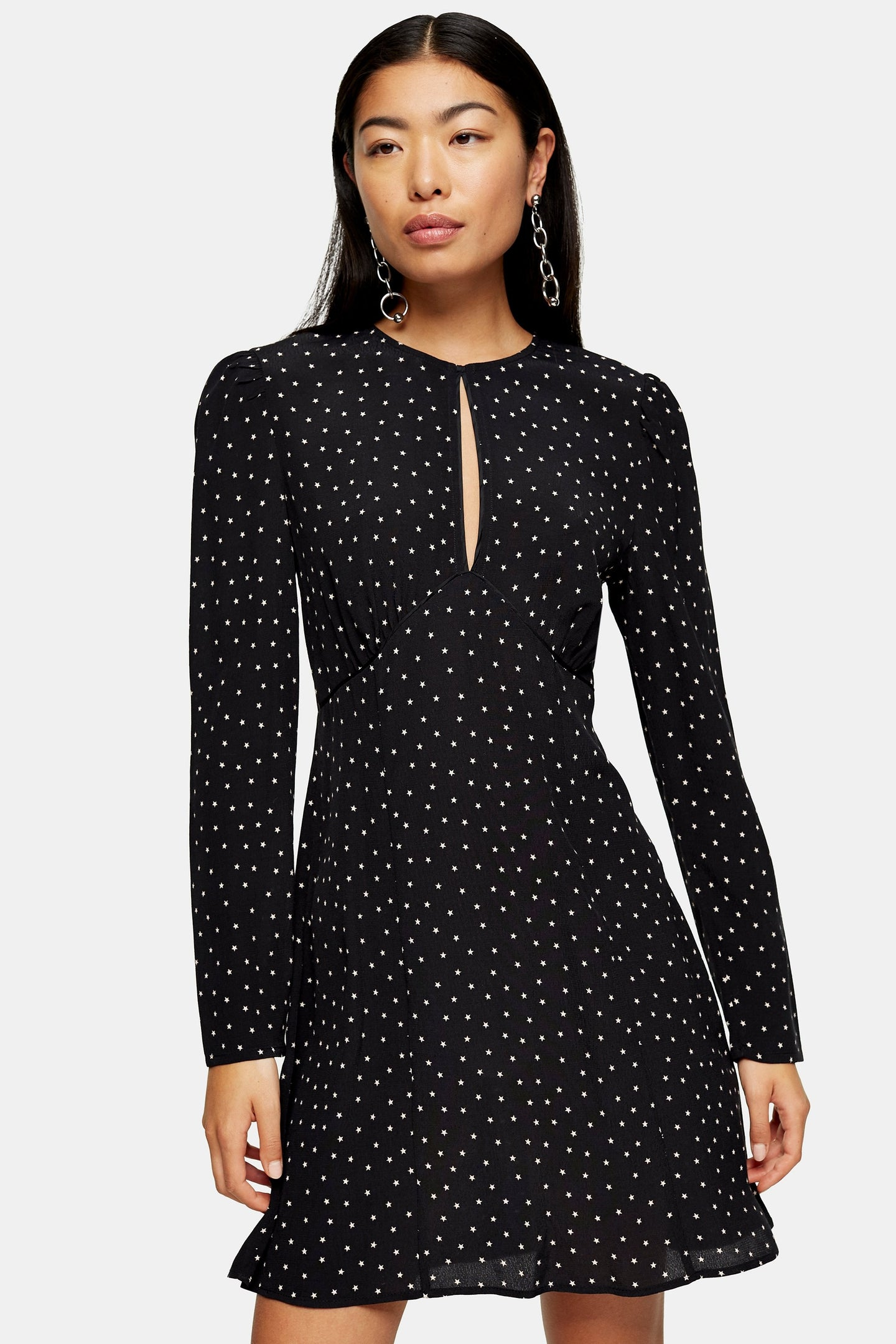 Top Shop Piped Keyhole Mini Dress