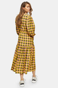 Top Shop Check Tie Wrap Midi Dress