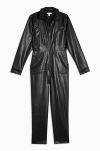Top Shop Faux Leather Boiler Suit