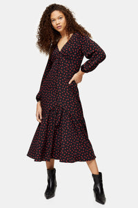 Top Shop PETITE  Button V-Neck Midi Dress