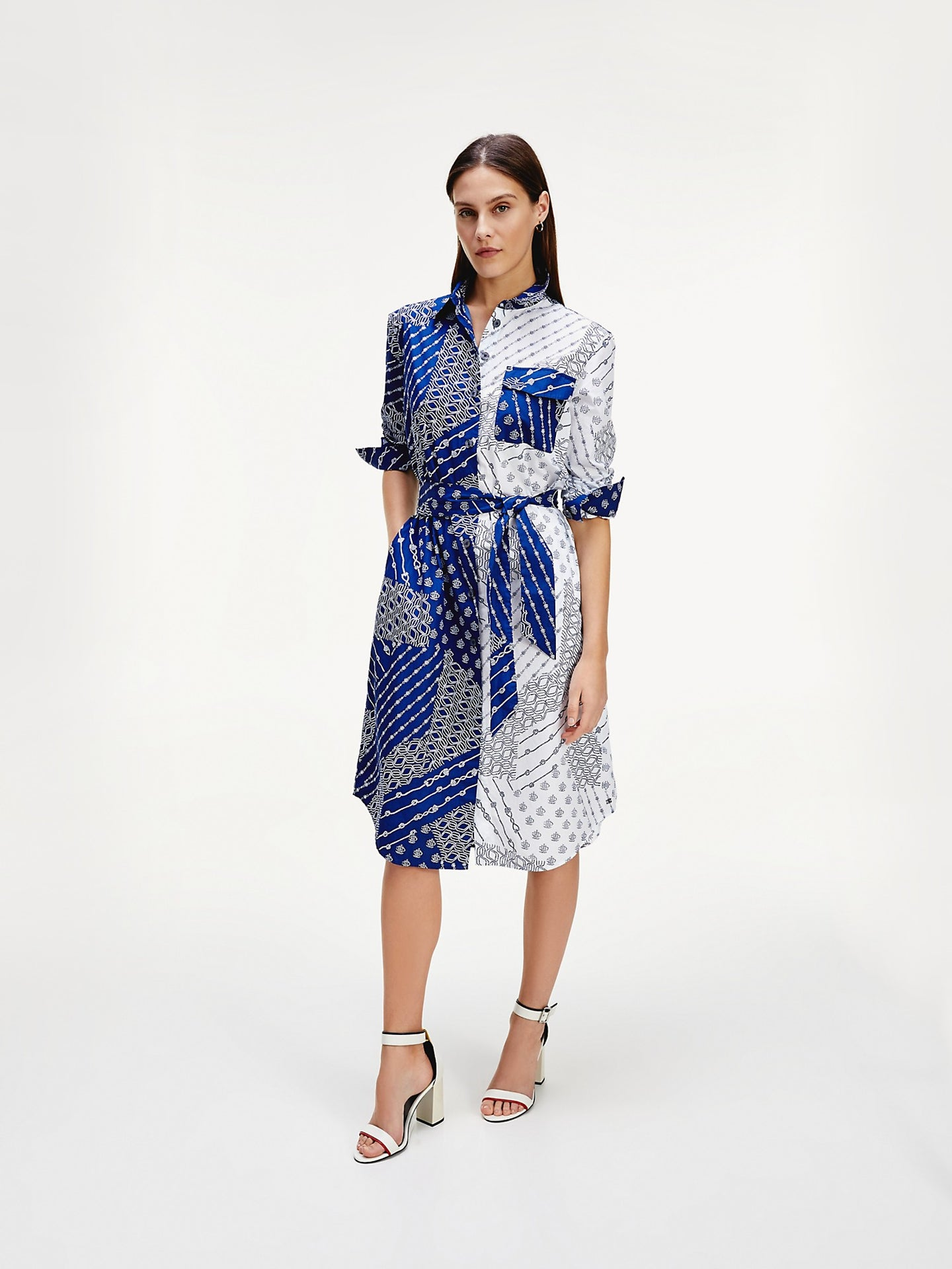 TOMMY HILFIGER MIXED PRINT SHIRTDRESS Tommy Hilfiger Mixed Print Shirt Dress