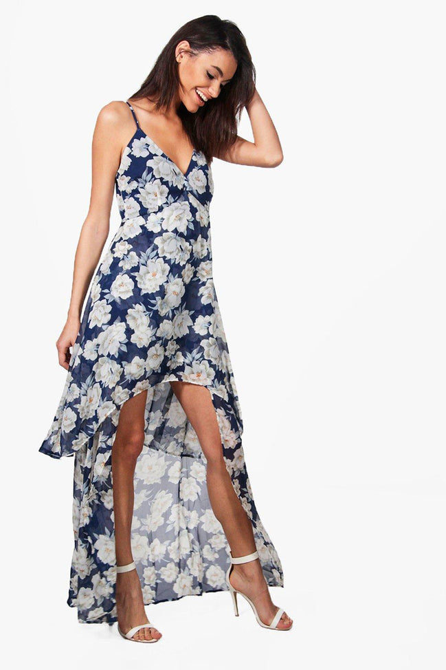 Floral Chiffon High Low Layered Dress