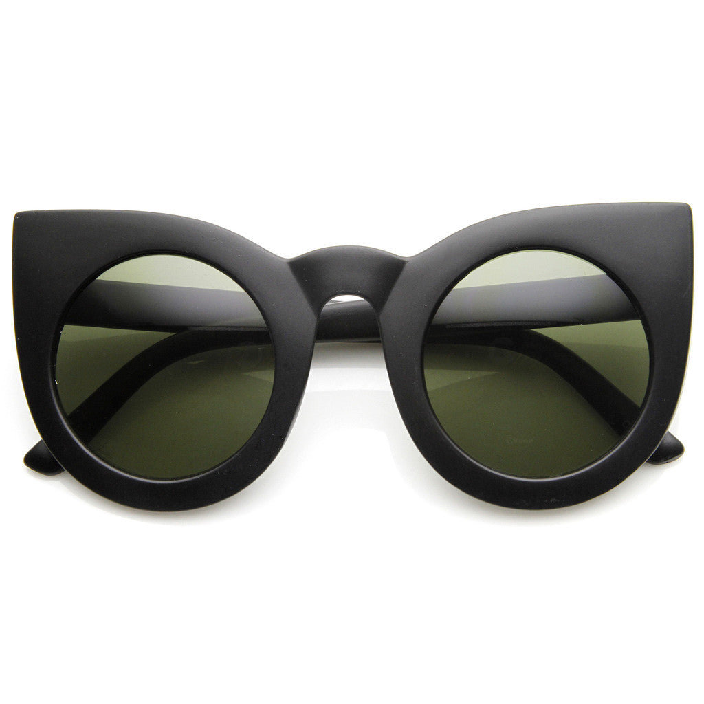 DESIGNER OVERSIZE ROUND CIRCLE POINTED CAT EYE SUNGLASSES