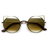 DESIGNER WOMEN'S ROUND METAL LASER CUT CAT EYE SUNGLASSES