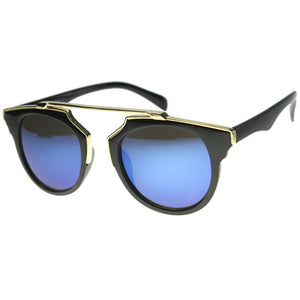 Intricately Designed Retro Horned Rim Revo Lens Sunglasses