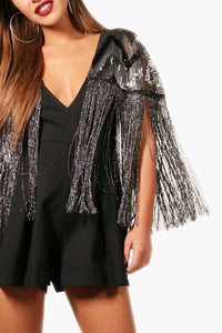 Sequin Tassel Cape Jumpsuit