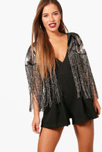 Load image into Gallery viewer, Sequin Tassel Cape Jumpsuit