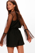 Load image into Gallery viewer, Mesh Embroidered Flare Sleeve Jumpsuit
