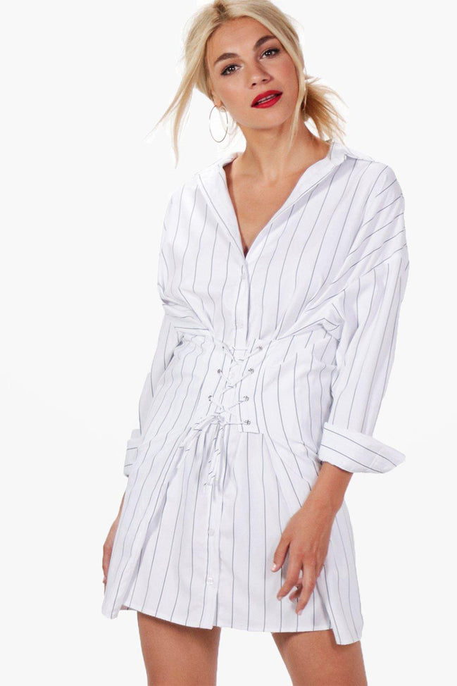 Corset Lace Up Stripe Shirt Dress