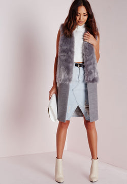 FAUX FUR STATEMENT LONGLINE VEST