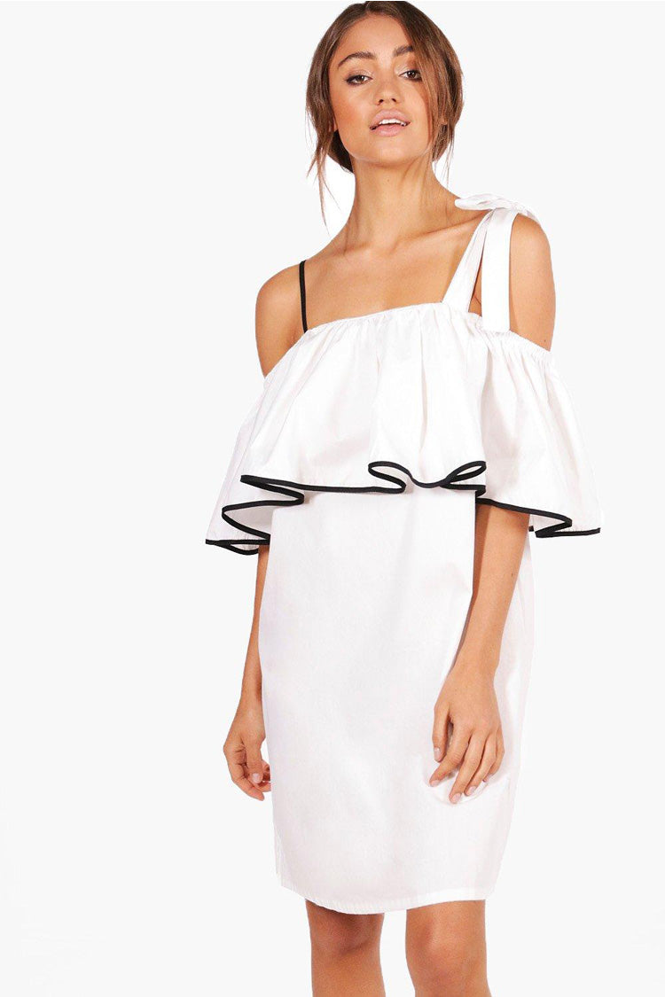 Bow Tie One Shoulder Ruffle Dress