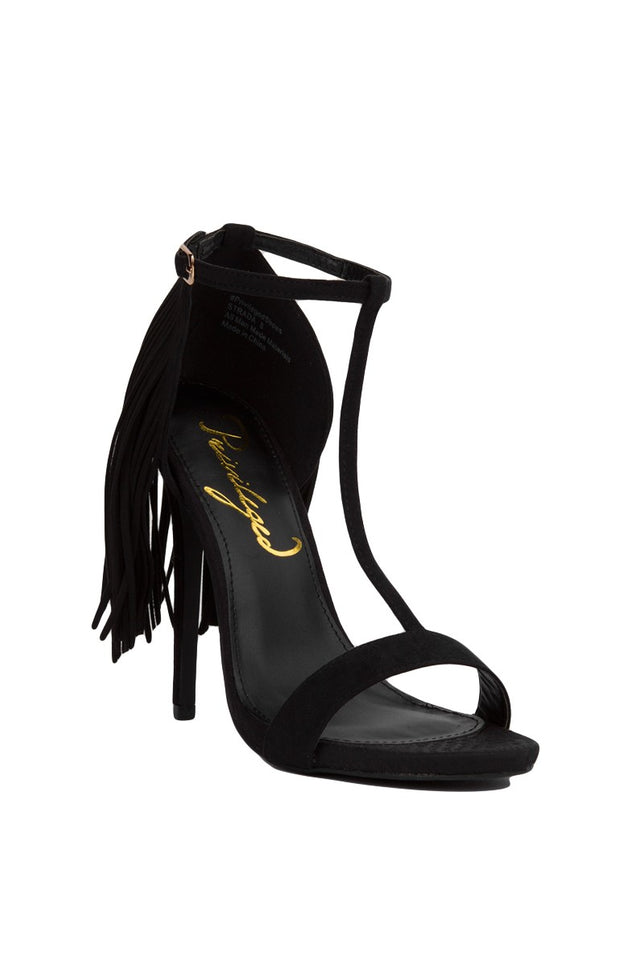 Privileged By J. C. Dossier Strada Fringe T-strap Heeled Sandals