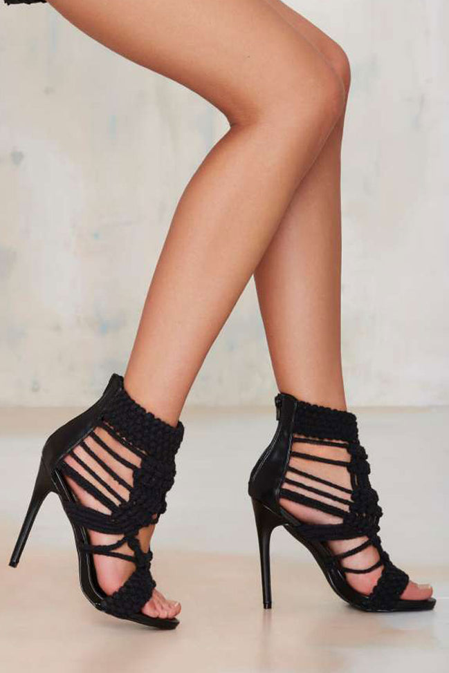 Privileged by J.C Dossier Lexie Black Crochet Heel